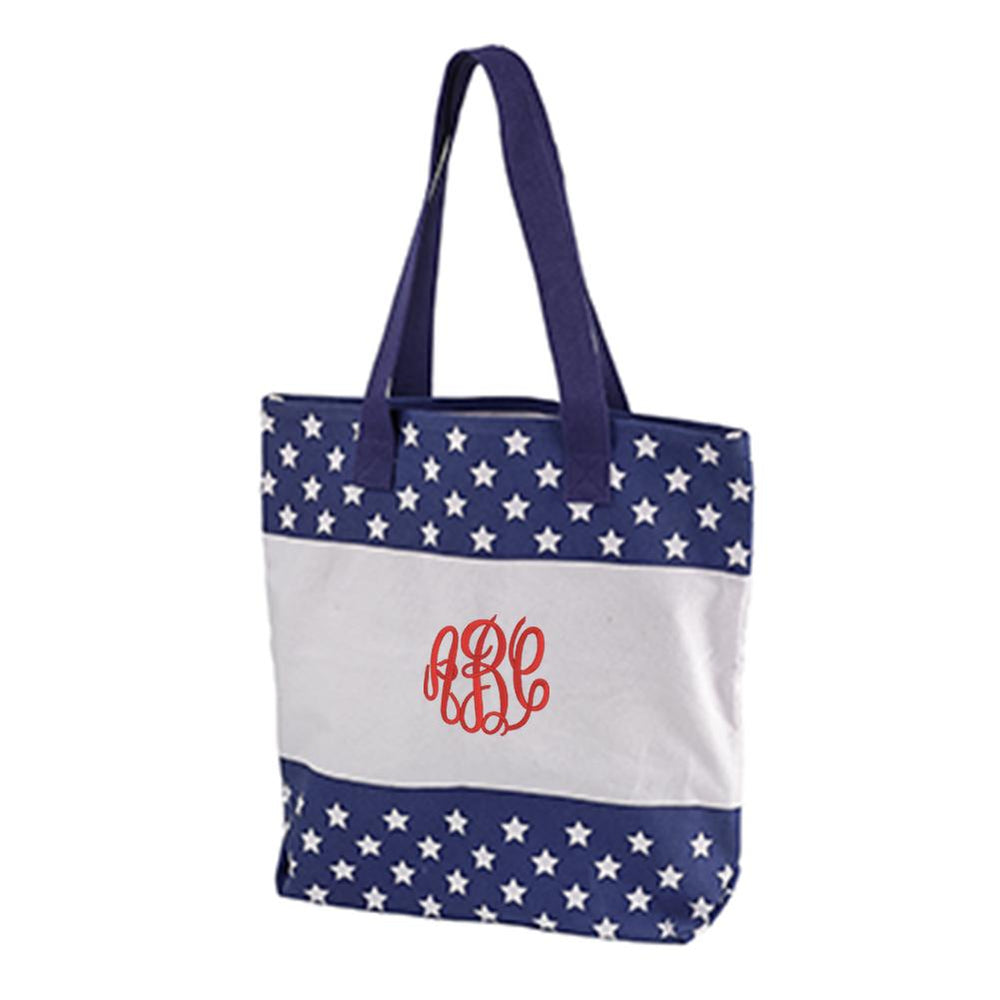 Monogrammed Patriotic Tote Bag Fourth of July Beach