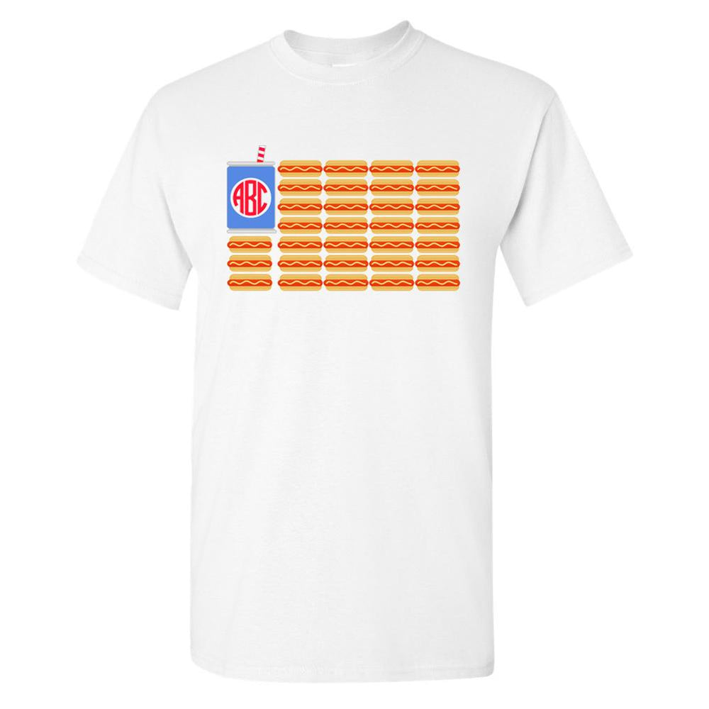 Monogrammed Hot Dog American Flag T-Shirt Fourth of July
