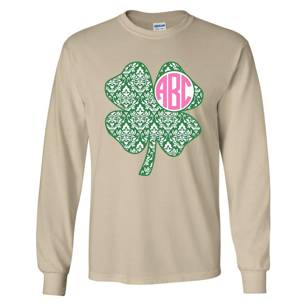 Monogrammed 'Shamrock' Long Sleeve T-Shirt