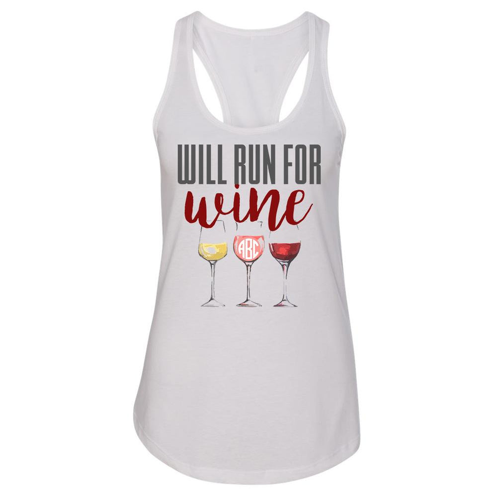 Monogrammed Will Run For Wine Racerback Tank Top