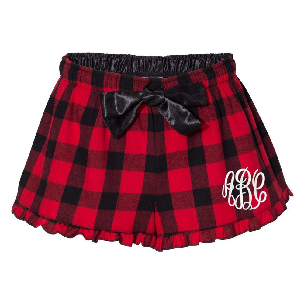 Monogrammed Red & Black Buffalo Ruffle Shorts