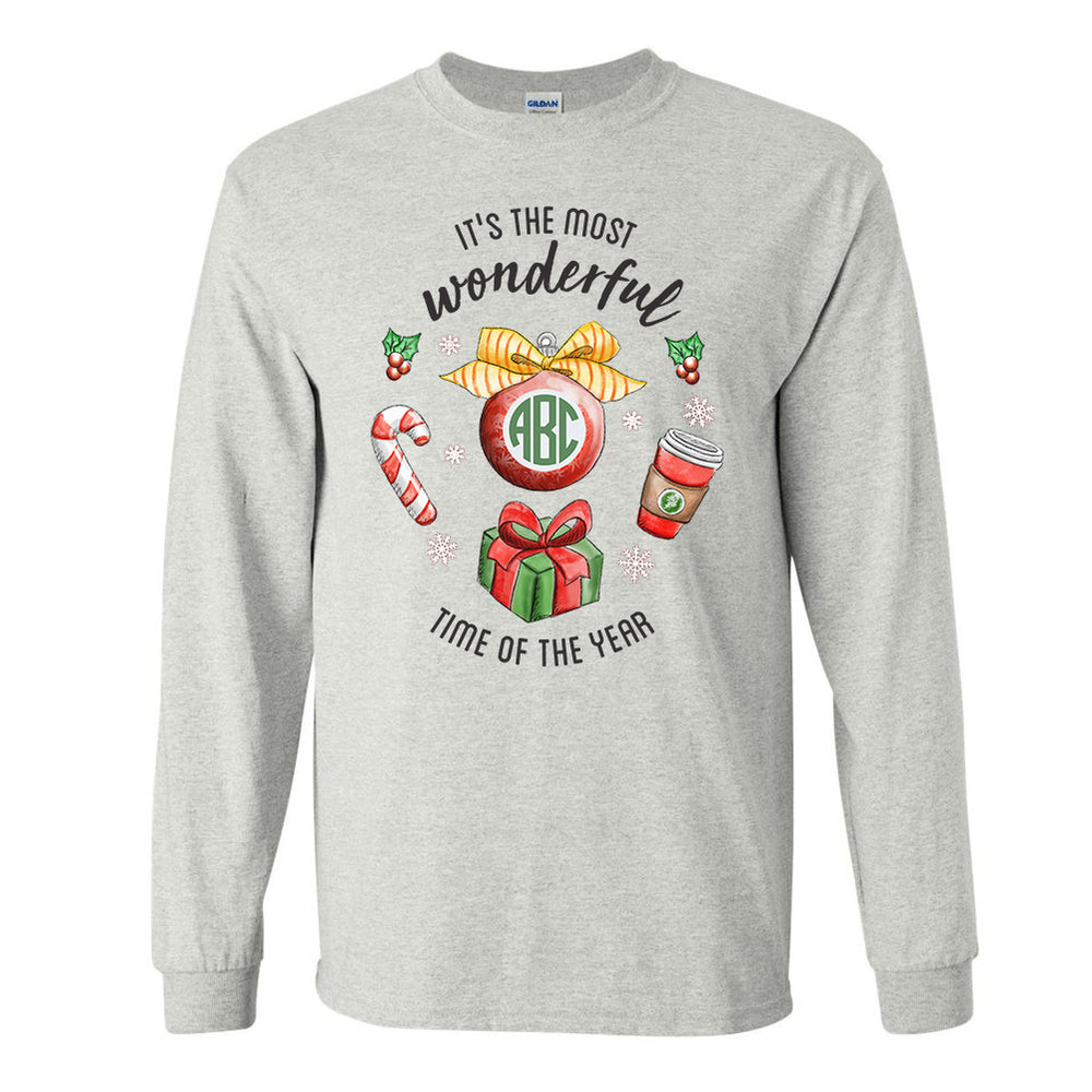 Monogrammed It's The Most Wonderful Time of Year Long Sleeve Shirt Christmas Festive