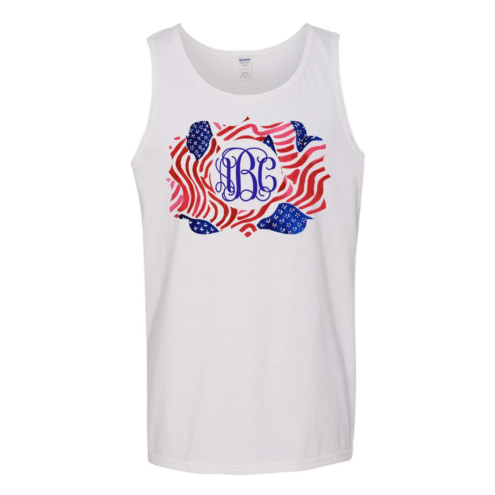 Monogrammed Lilly Pulitzer Inspired American Flag Tank Top Fourth of July