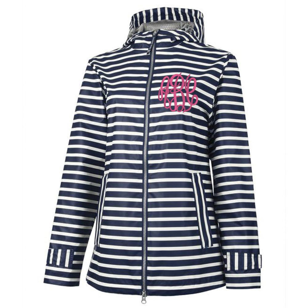 Monogrammed Charles River Striped New Englander Rain Jacket