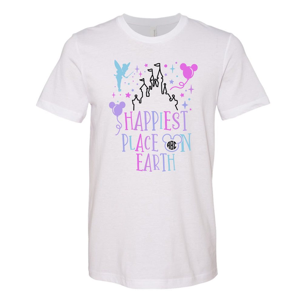 Monogrammed Happiest Place On Earth Disney Magic Kingdom Tee Shirt