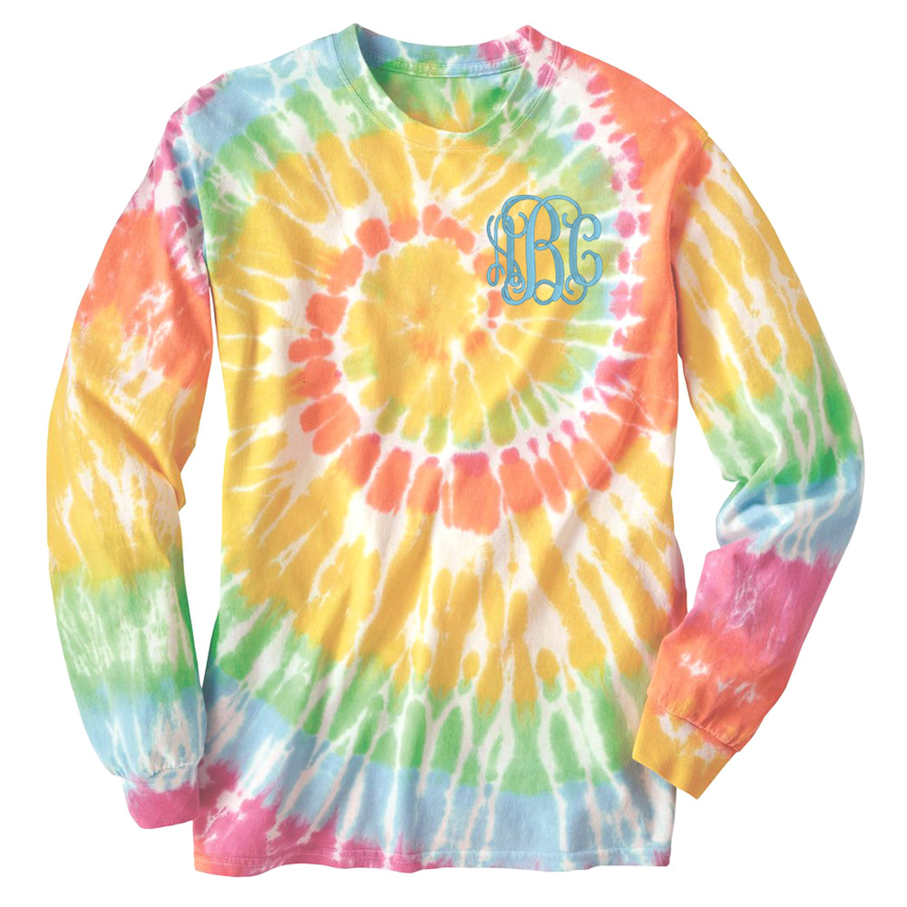 Monogrammed Tie Dye Long Sleeve T-Shirt Pullover
