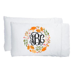 Monogrammed Fall Autumn Wreath Pillowcase Set