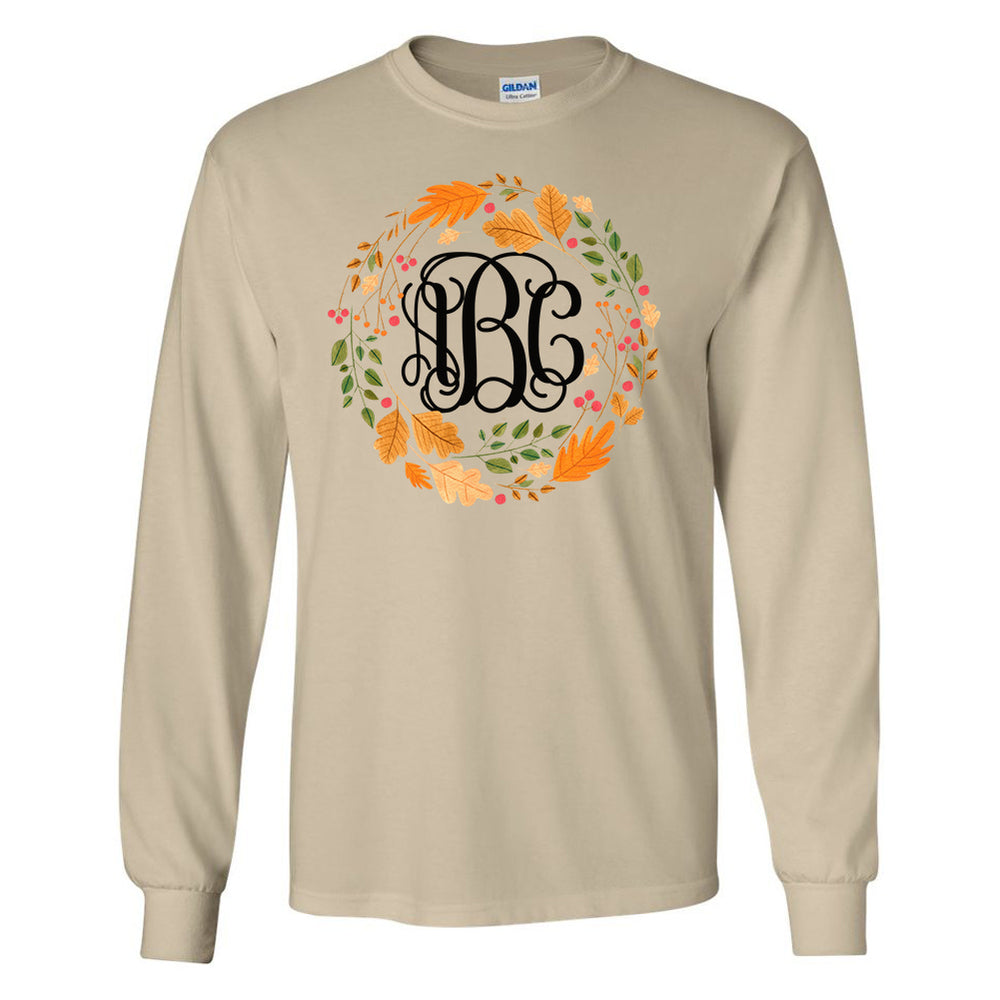 Monogrammed Autumn Wreath Leaf Crown Long Sleeve Shirt