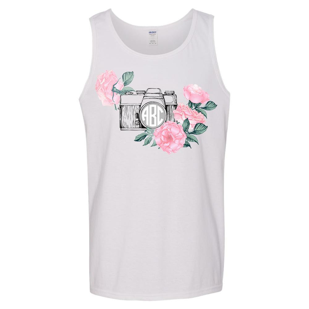 Monogrammed Floral Camera Tank Top