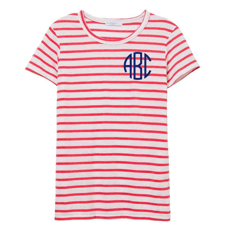 Red Striped Monogrammed American VIntage Summer Persoanlized t-shirt