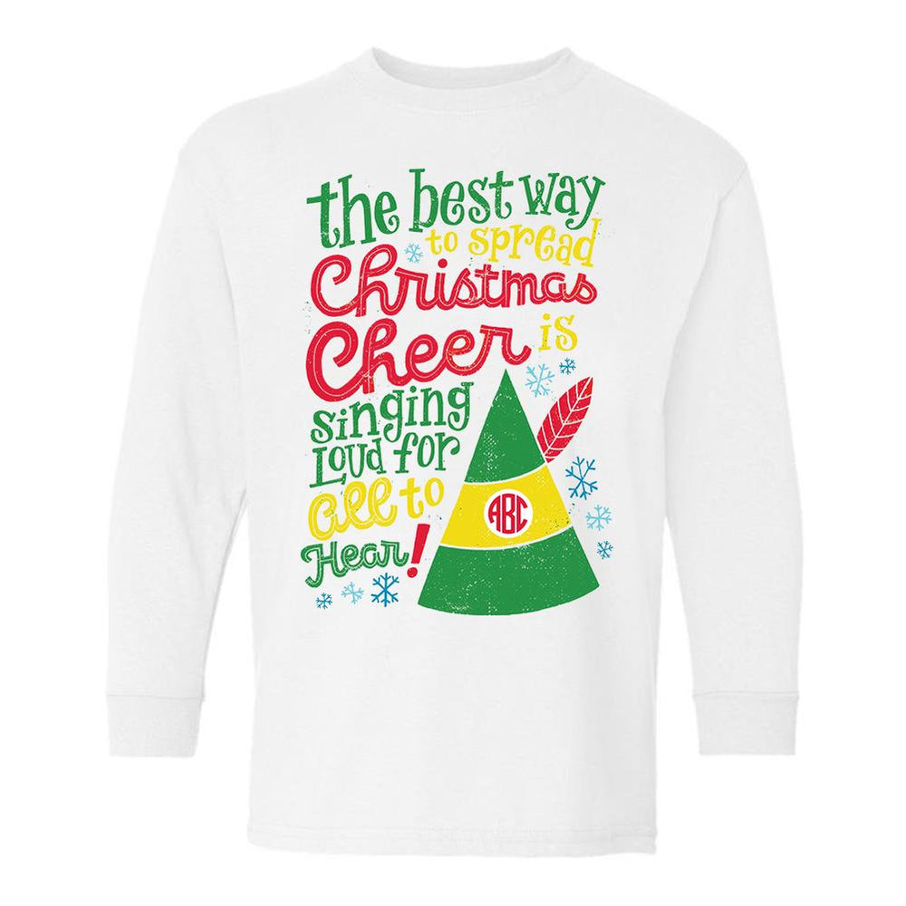 Monogrammed Elf Movie Christmas Cheer Kids Youth Shirt