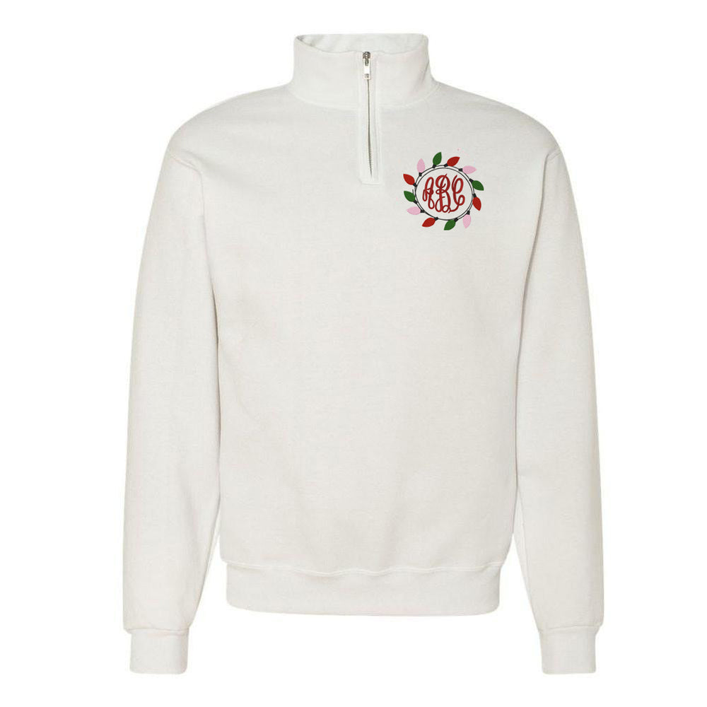 Monogrammed Christmas Lights Quarter Zip Pullover