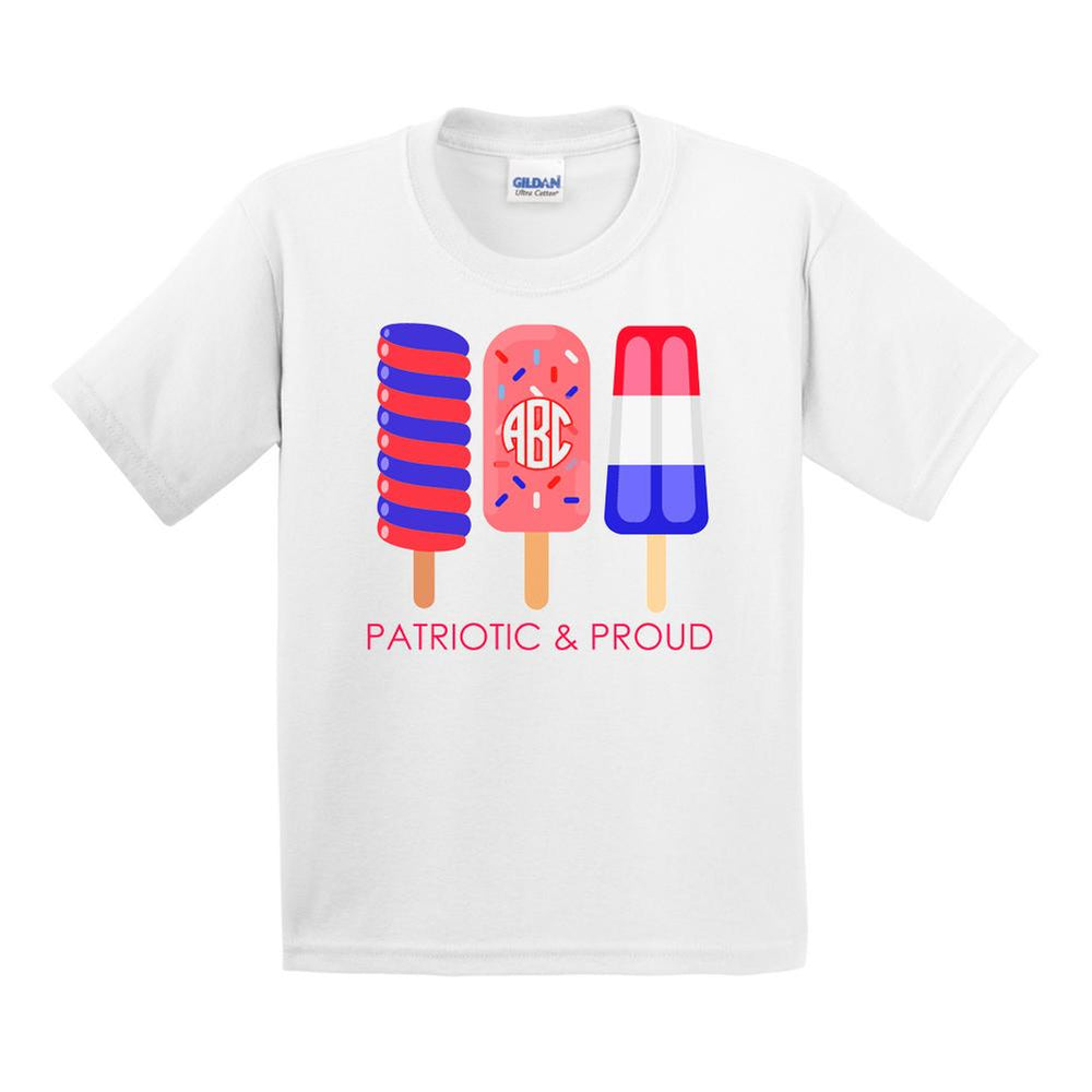 Kids Monogrammed Patriotic & Proud T-Shirt Fourth of July Youth Sizes