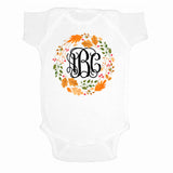 Monogrammed Autumn Wreath Leaf Crown Infant Onesie