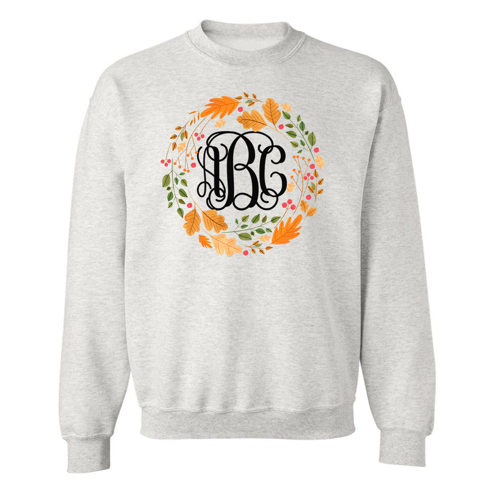 Monogrammed Autumn Wreath Leaf Crown Crewneck Sweatshirt