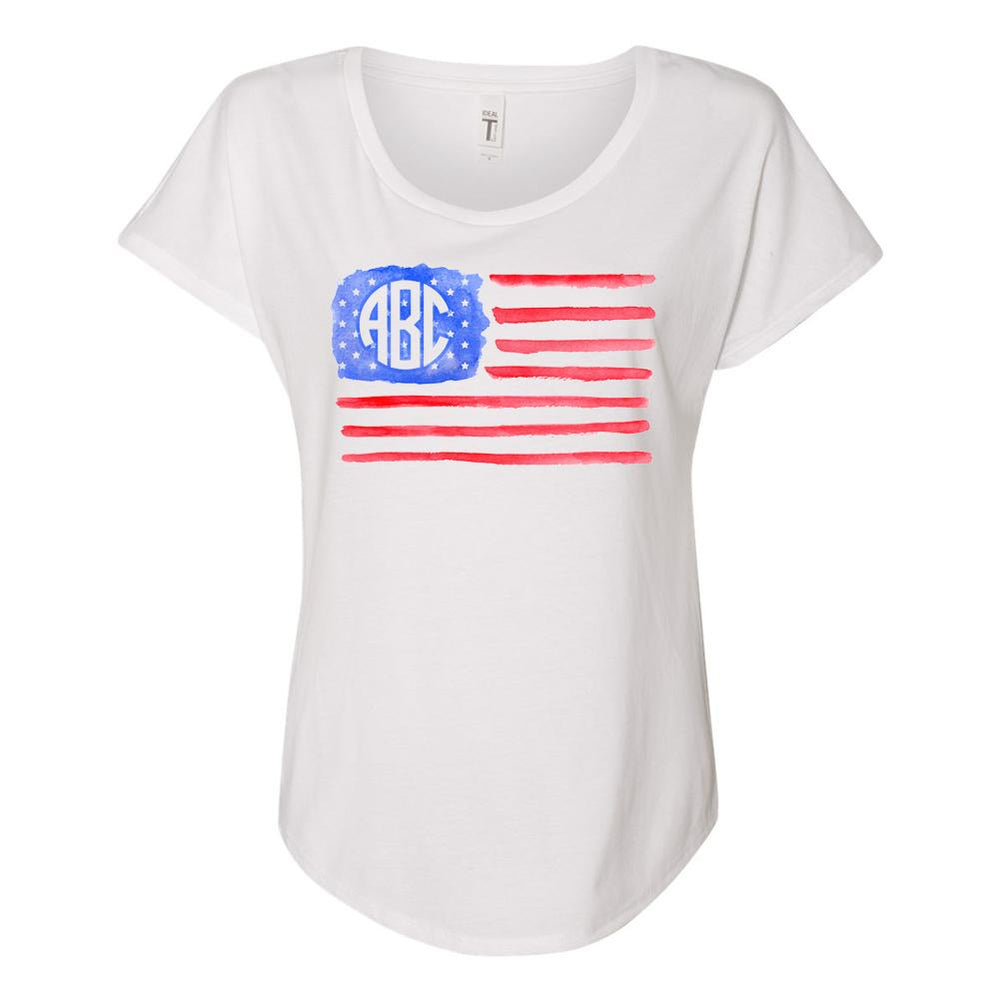 Monogrammed Watercolor American Flag Flowy Tee Fourth of July