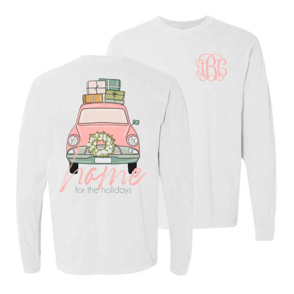Monogrammed Home For The Holidays Front & Back Long Sleeve Shirt