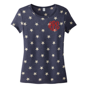 Monogrammed Stars Patriotic T-Shirt Fourth of July