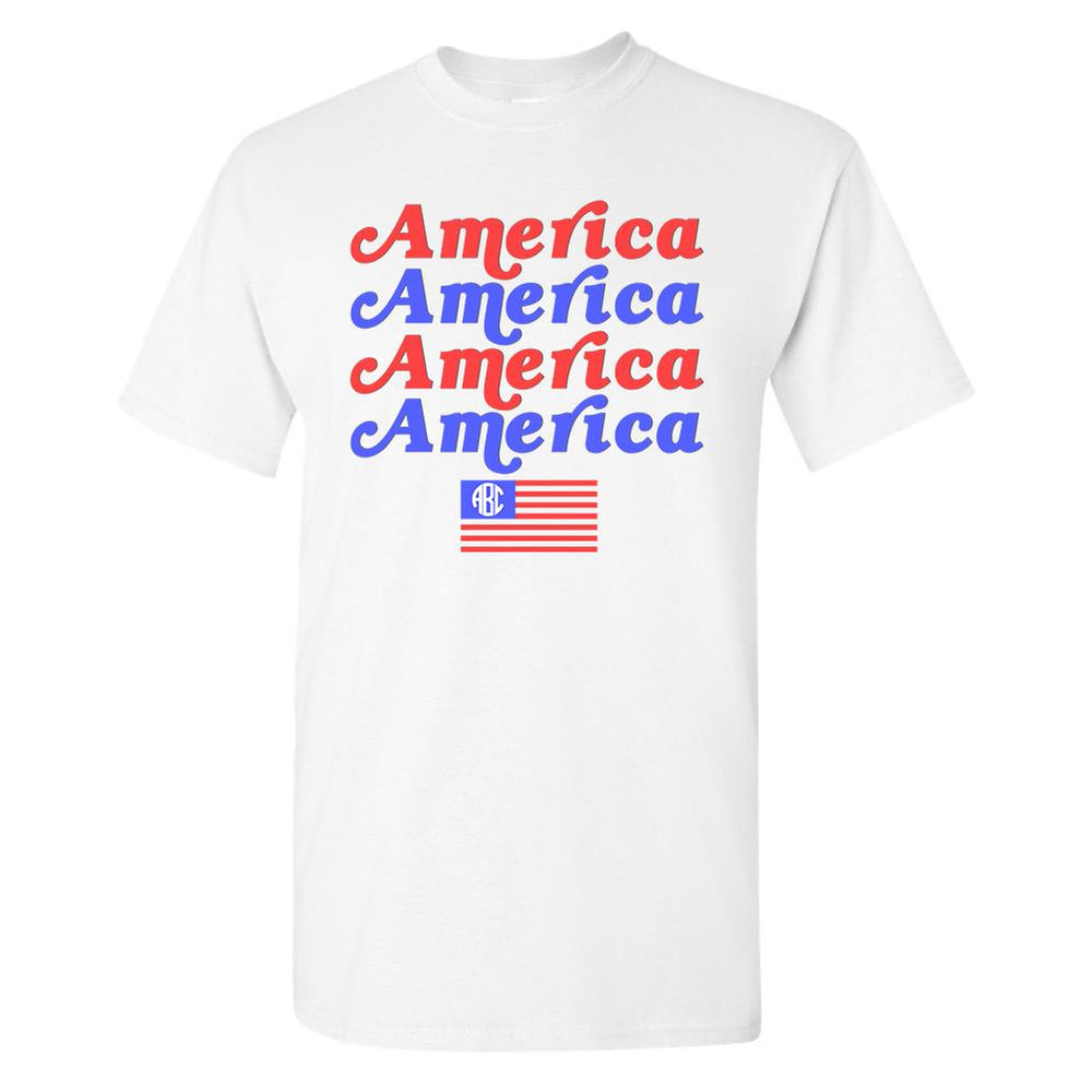 Monogrammed America America T-Shirt Fourth of July