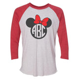 Monogrammed Minnie Mouse Disney Baseball Tee Raglan