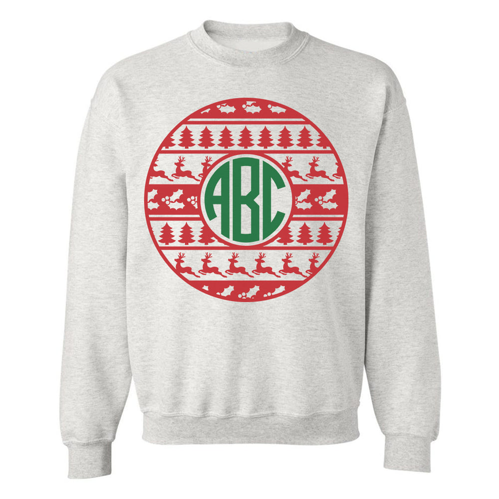 Monogrammed Christmas Ornament Crewneck Sweatshirt