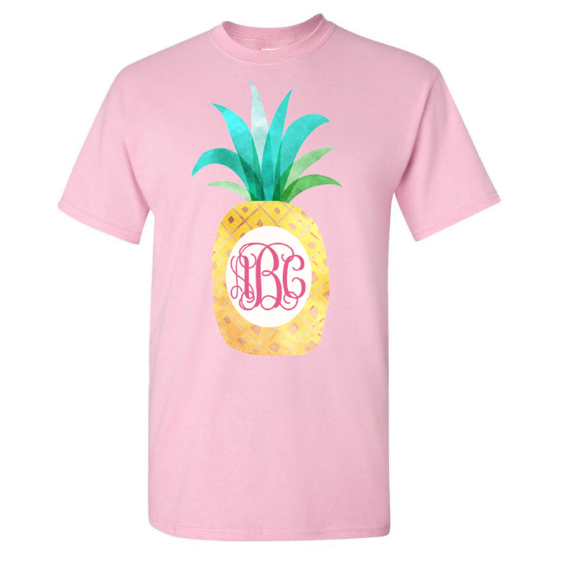 Monogrammed Watercolor Pineapple T-Shirt