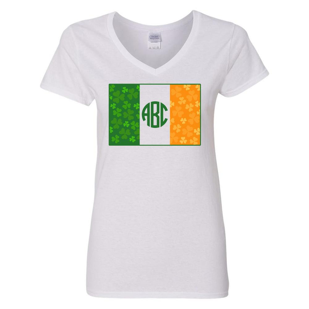 Monogrammed 'Irish Flag' Big Print V-neck T-Shirt