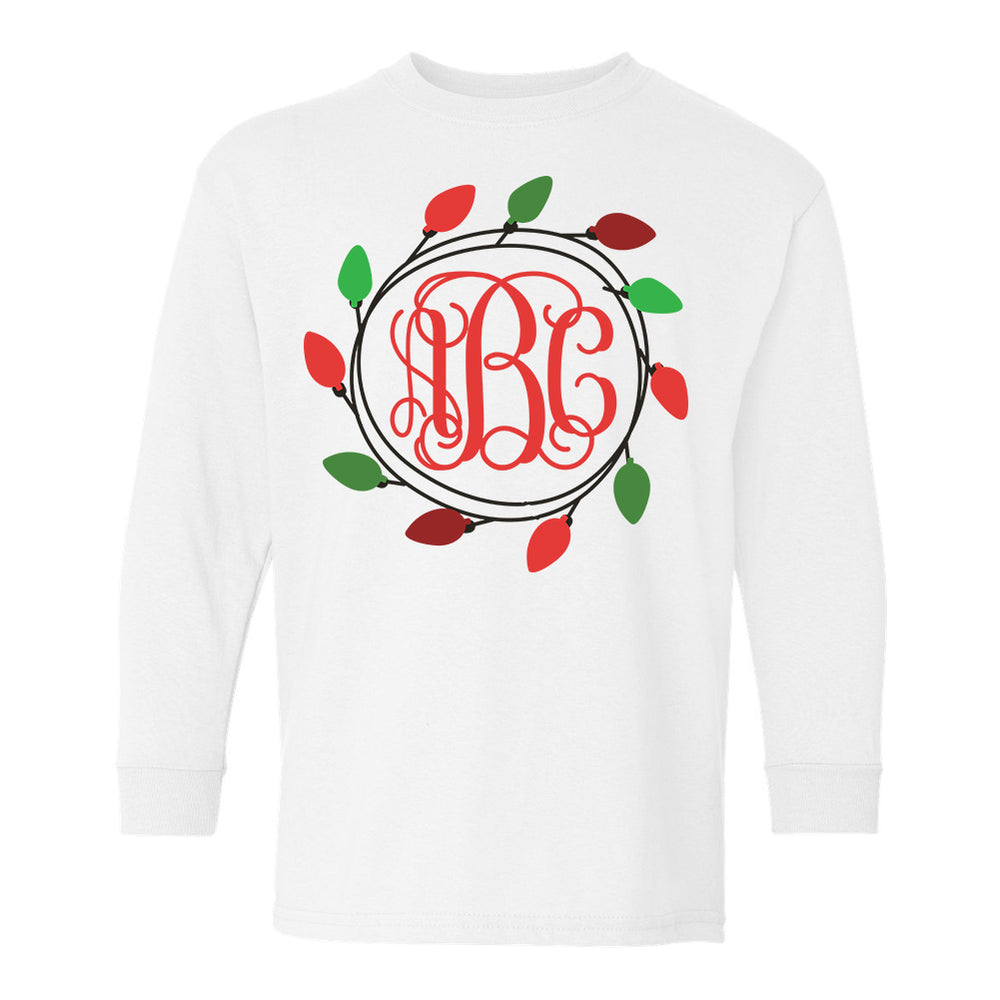 Kids Youth Monogrammed Christmas Lights Wreath Long Sleeve Shirt