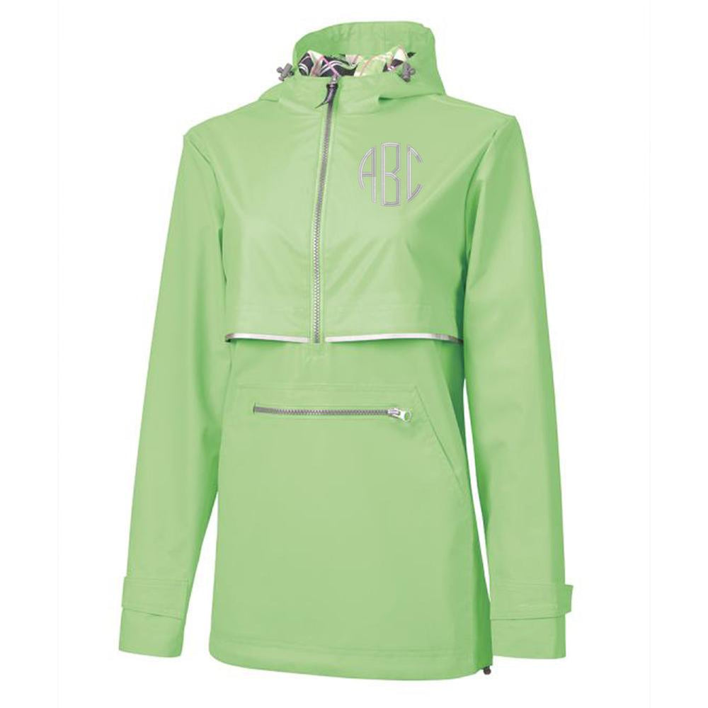 Bright Green Monogrammed Charles River Rain Jacket