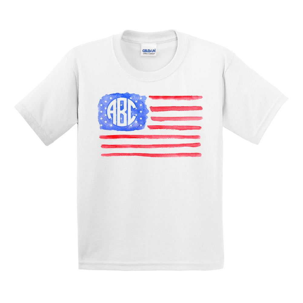 Kids Monogrammed Watercolor American Flag T-Shirt Youth Sizes Fourth of July