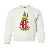 Monogrammed Kids Youth Elf Crewneck Sweatshirt