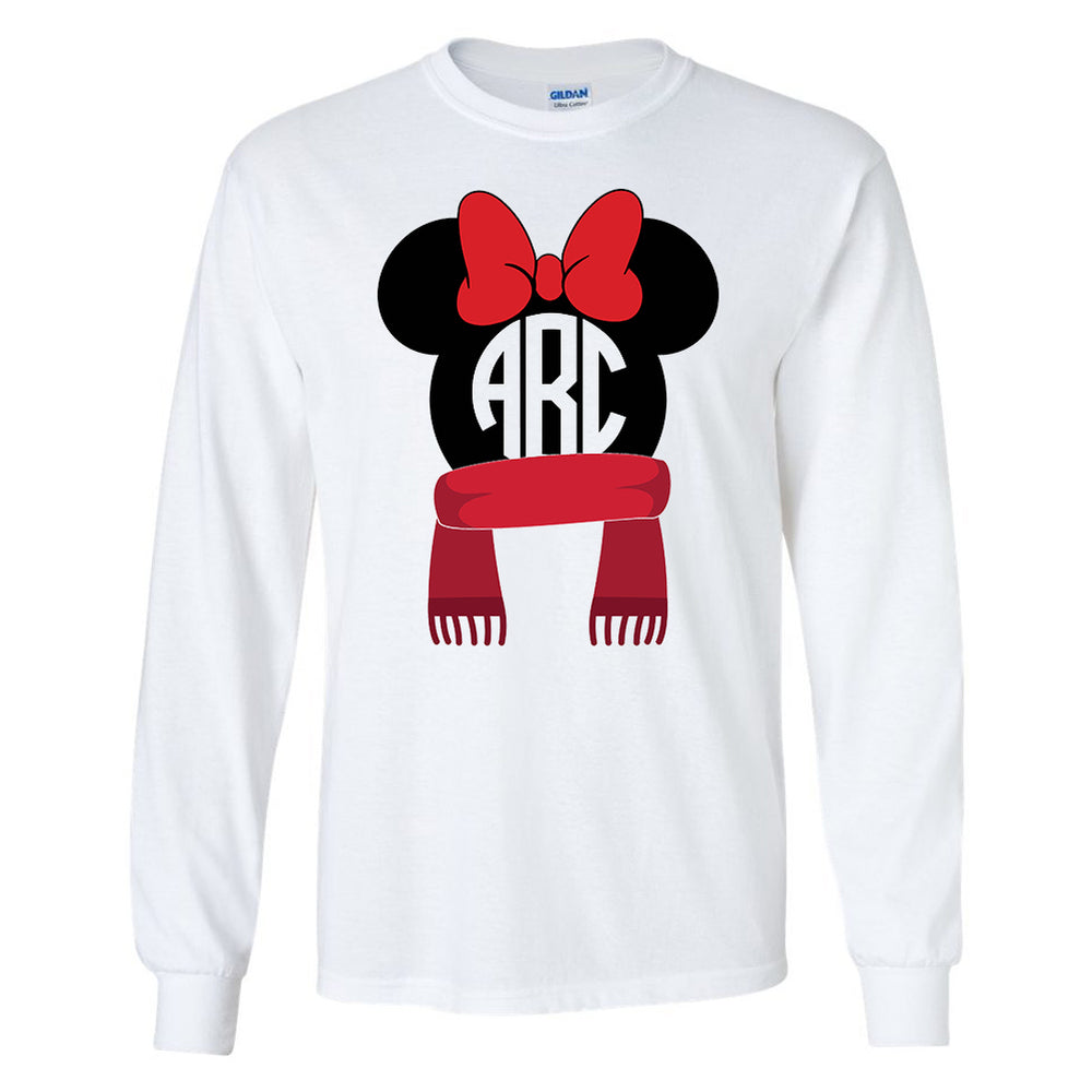 Monogrammed Disney Minnie Holiday Winter Christmas Long Sleeve Shirt Reindeer Scarf Earmuffs