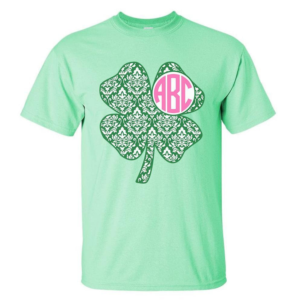 Mint Monogram shirt with Shamrock