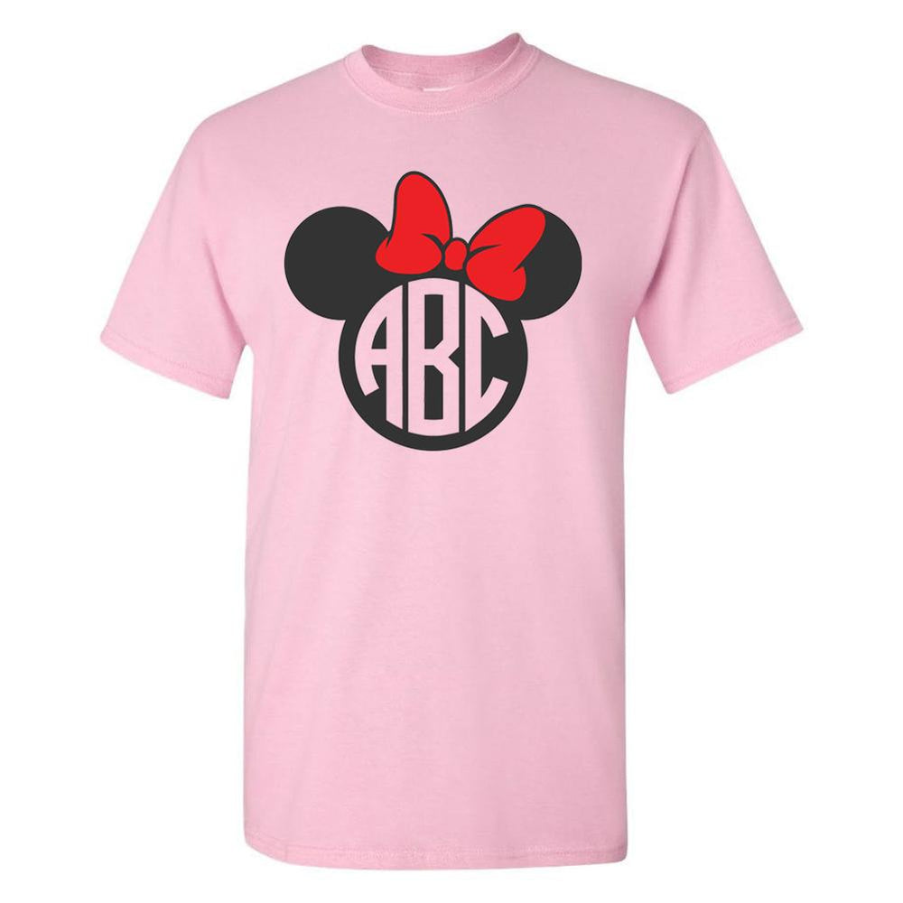 Monogrammed 'Minnie Mouse' Big Print Basic T-Shirt