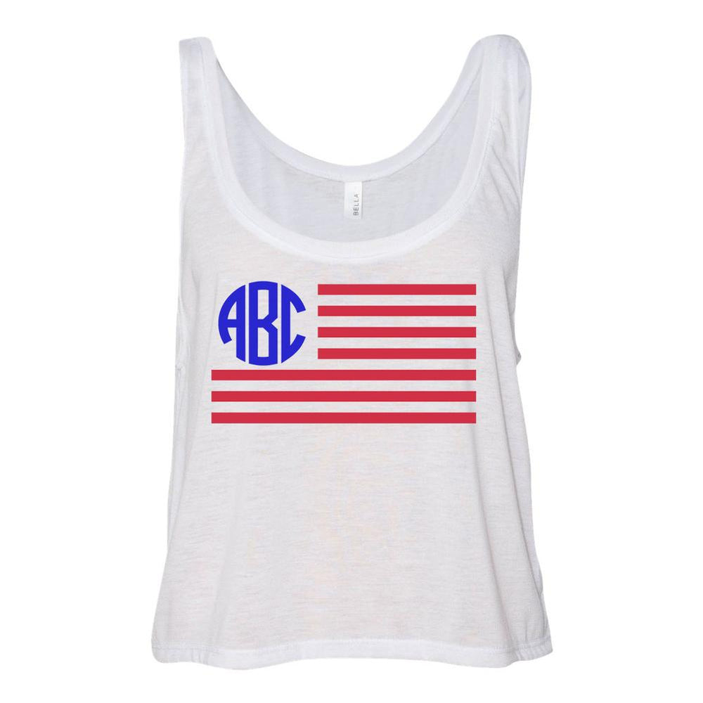 Monogrammed American Flag Cropped Tank Top Fourth of July