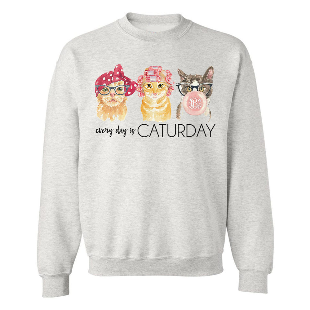 Monogrammed Every Day Is Caturday Crewneck Sweatshirt