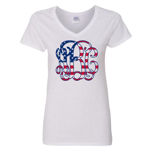 Monogrammed American Flag Vine V-Neck T-Shirt Fourth of July