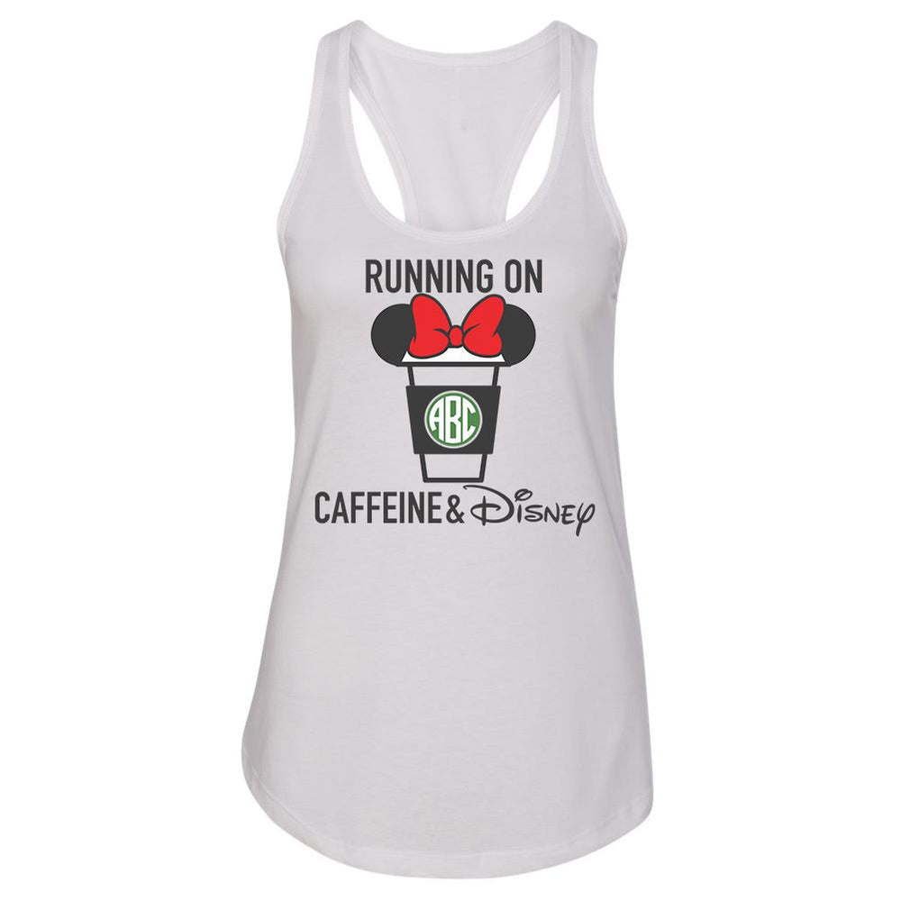 Monogrammed Running On Caffeine & Disney Racerback Tank Top