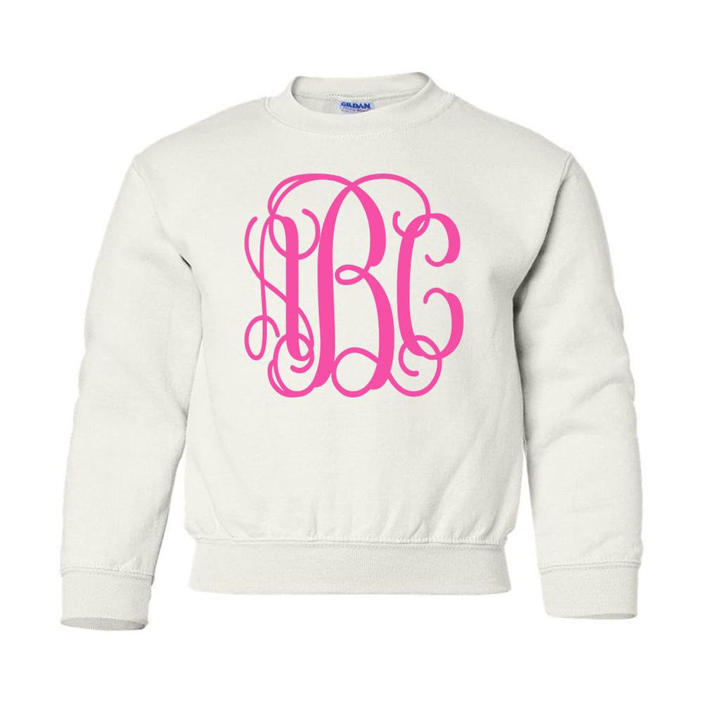 Kids Monogrammed Big Print Crewneck Sweatshirt Youth Sizes