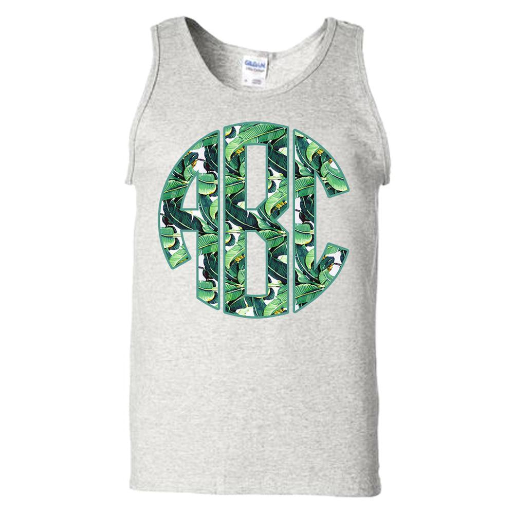 Monogrammed 'Banana Leaves' Big Print Tank Top
