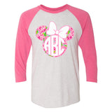 Monogrammed Lilly Pulitzer Minnie Mouse Disney Raglan Baseball Tee
