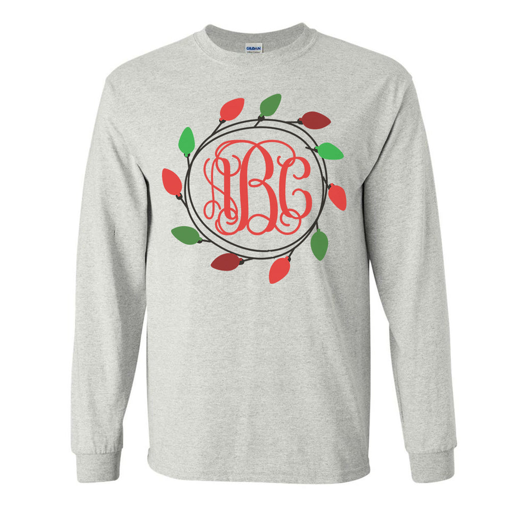 Monogrammed Christmas Lights Long Sleeve Shirt