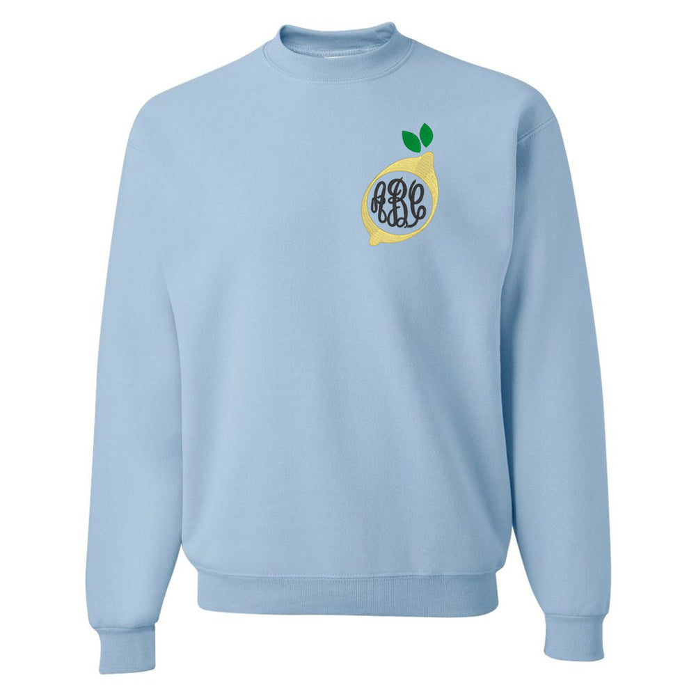 Crewneck Sweatshirt with Embroidered Lemon Monogram