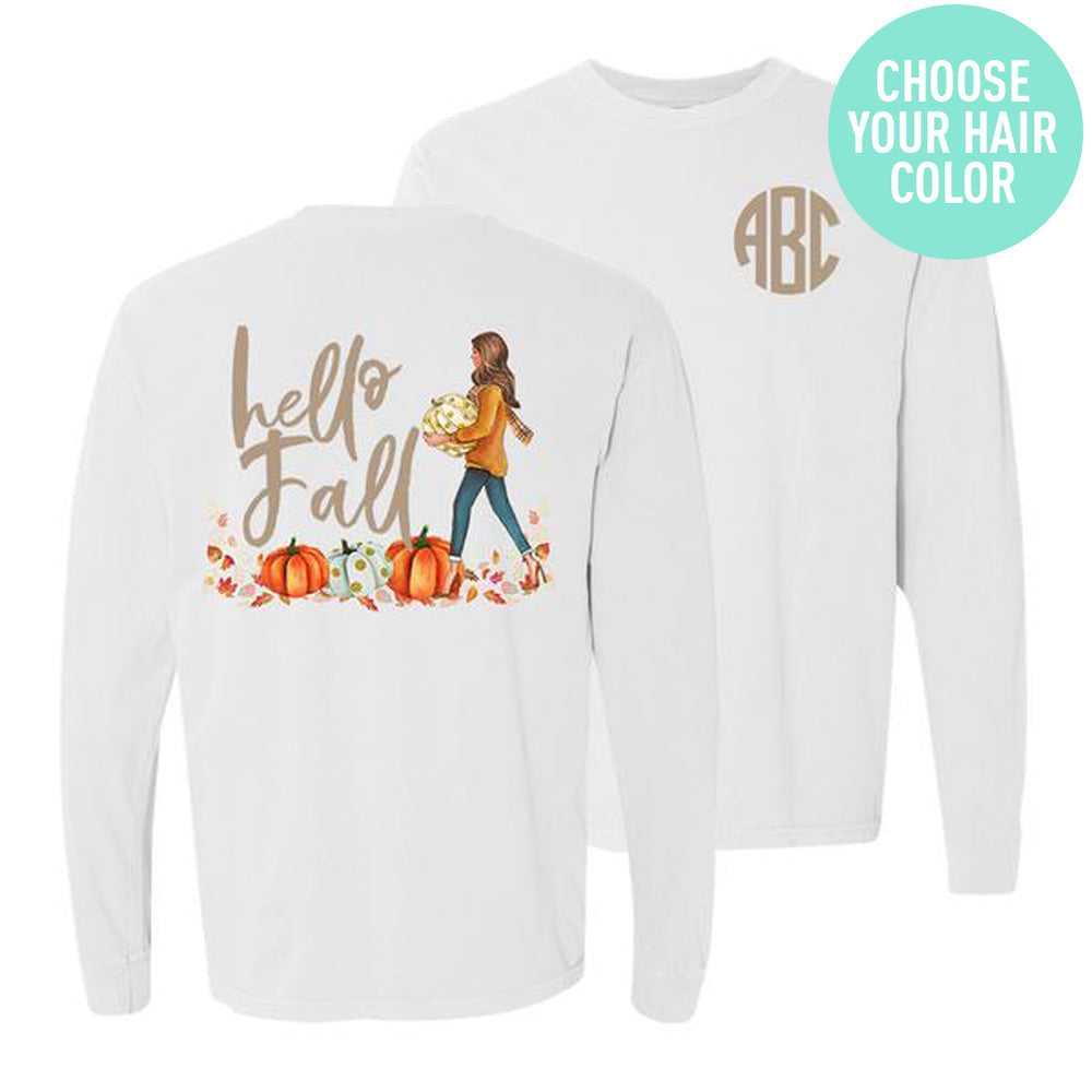 Monogrammed Hello Fall Pumpkin Front & Back Long Sleeve Shirt