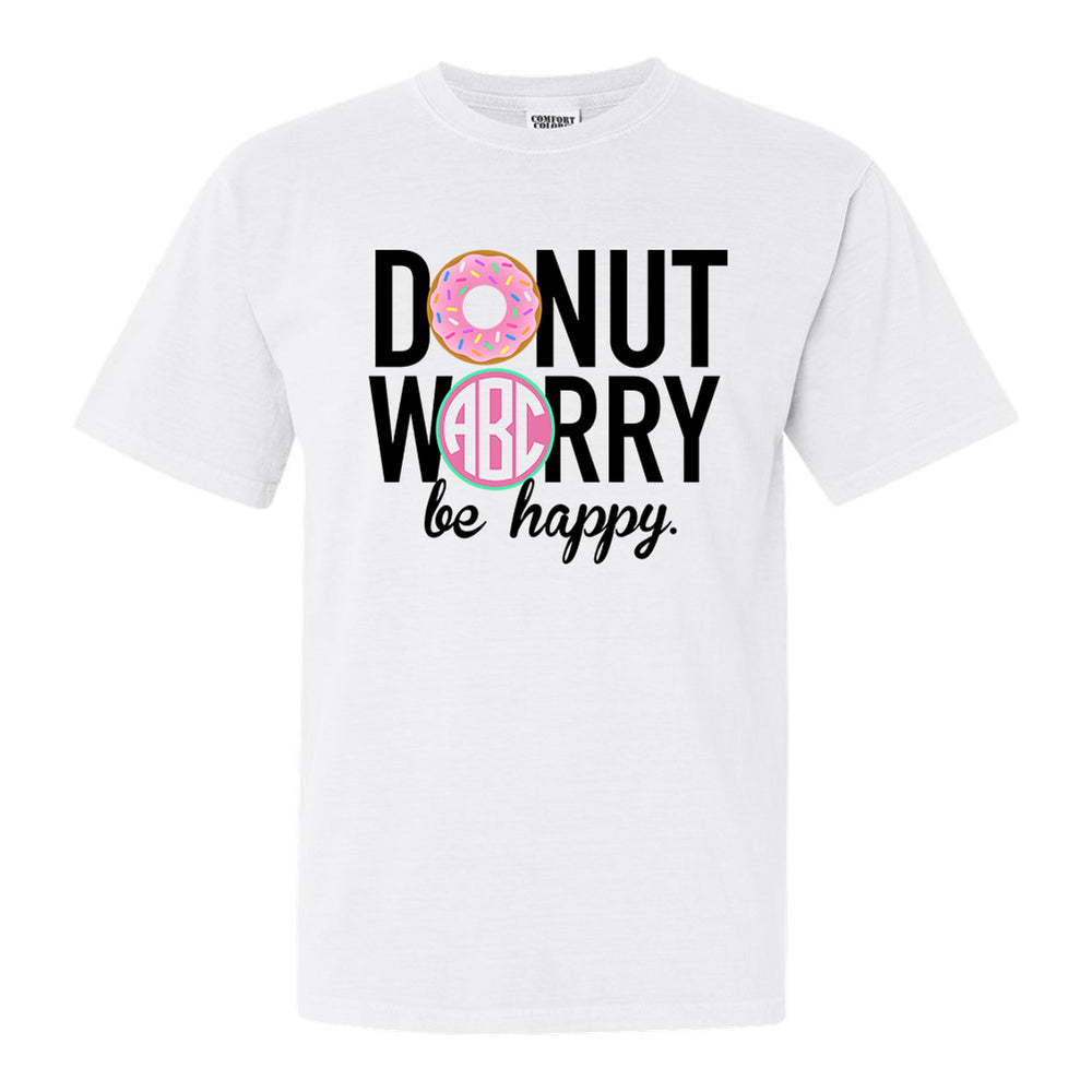 Monogrammed Donut Worry, Be Happy Tee