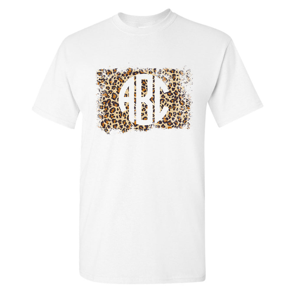 Monogrammed Distressed Leopard T-Shirt