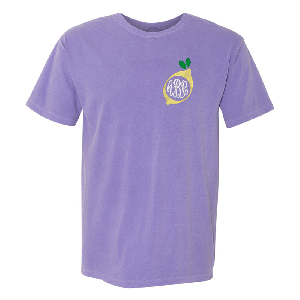 Violet Comfort Colors T-Shirt with Lemon United Monogram