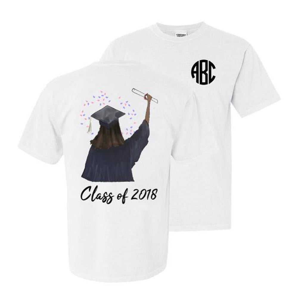 Monogrammed Front & Back Graduation Class of 2018 T-Shirt