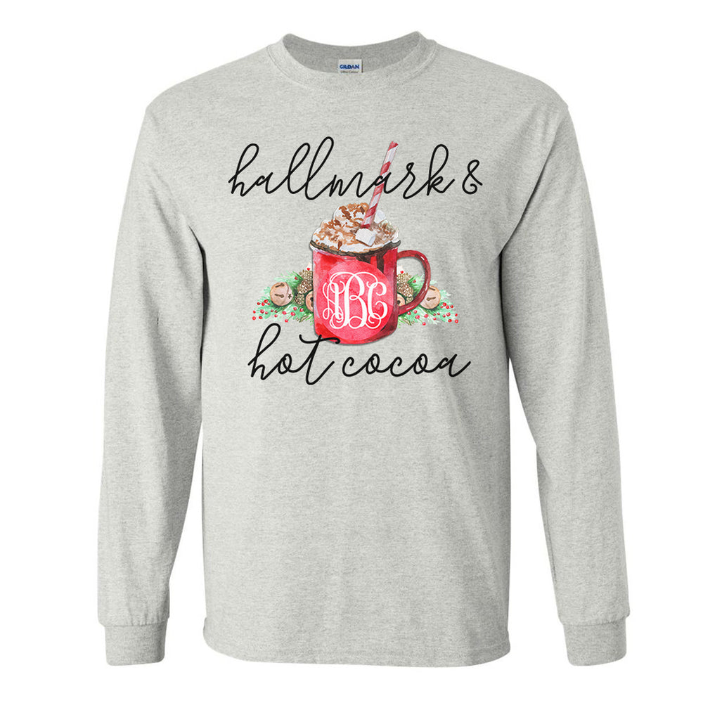 Monogrammed Hallmark Movies & Hot Cocoa Long Sleeve Shirt