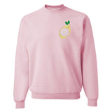 Pink Crewneck Sweatshirt with Embroidered Lemon Monogram